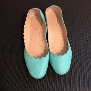 4f8f83fb3 Chloe Shoes - Chloe Lauren Scalloped Flats Size 37.5 Teal Shoes